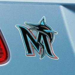 Miami Marlins Heavy Duty Metal 3-D Color Auto Emblem