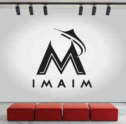 Miami Marlins Logo Wall Decal MLB Sport Sticker Decor Black