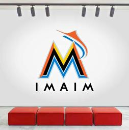 Miami Marlins Logo Wall Decal Sports Sticker Decor Vinyl MLB