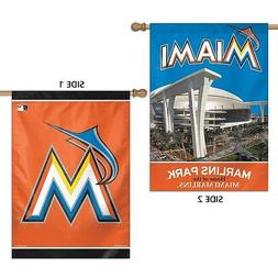 """MIAMI MARLINS MARLINS PARK 28""""X40"""" DOUBLE SIDED BANNER FLAG"""