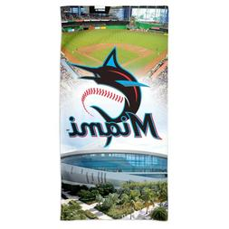 "MIAMI MARLINS MARLINS PARK NEW LOGO 30""X60"" SPECTRA BEACH TO"