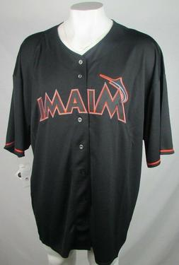 Miami Marlins Men's Majestic Big & Tall Black MLB Replica Je