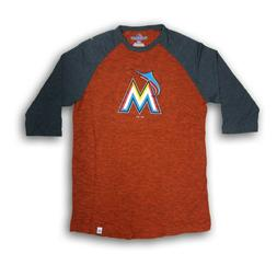 Miami Marlins Men's Majestic Orange/Dark Gray 3/4's Sleeve N