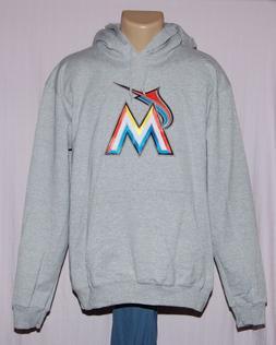 Miami Marlins Mens Primary Logo Hoodie Hooded Sweatshirt Gra
