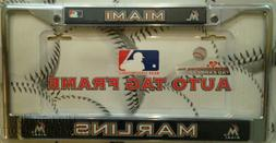 Miami Marlins Metal Chrome License Plate Tag Frame Cover Bas