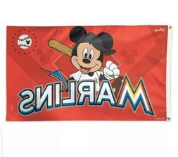 MIAMI MARLINS MICKEY MOUSE BASEBALL 3X5' DELUXE FLAG