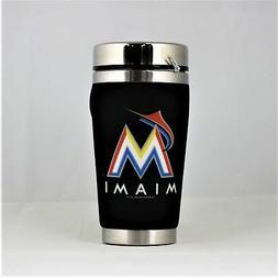 miami marlins mlb 16oz travel tumbler coffee