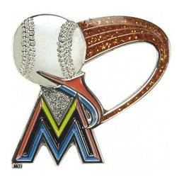 Miami Marlins MLB Baseball Glitter Trail Design Sports Pin L
