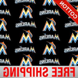 "Miami Marlins MLB Cotton Fabric - 58"" Wide - Style# 6686 - F"