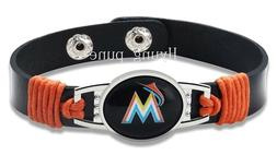 Miami Marlins MLB Genuine Leather Adjustable Sports Bracelet