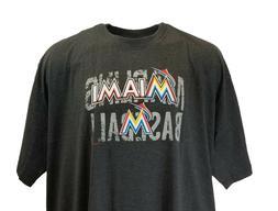 Miami Marlins Majestic MLB Granite T Shirts, Grey, Mens Big