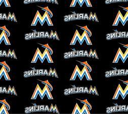 Miami Marlins MLB Logo Design 58-60 inch 100% Cotton Fabric-