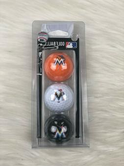 Miami Marlins MLB Team Golf Regulation Size Golf Balls, 3 Pa