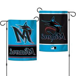 "MIAMI MARLINS NEW LOGO 12""X18"" 2-SIDED GARDEN FLAG NEW WINCR"