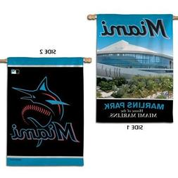"""MIAMI MARLINS NEW LOGO MARLINS PARK 28""""X40"""" DOUBLE SIDED BAN"""