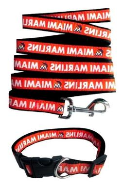 Pets First Miami Marlins Nylon Collar and Leash; MLB Officia
