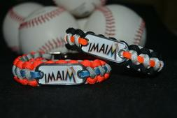 Miami Marlins Paracord Bracelet w/ MLB Dog Tag and Metal Buc