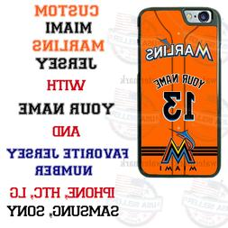 MIAMI MARLINS PHONE CASE COVER WITH NAME&No. FITS iPHONE LG
