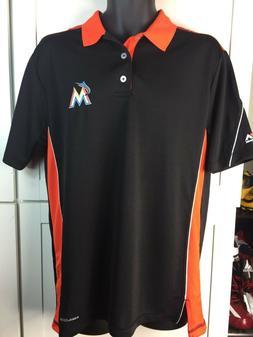 MIAMI MARLINS POLO SHIRT- MAJESTIC-COOL BASE -MLB-ADULT LARG