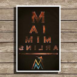 "Miami Marlins Poster MLB Baseball Eyechart Art Print 12x16"""