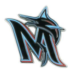 Miami Marlins Premium Raised Solid Metal Color Chrome Auto E