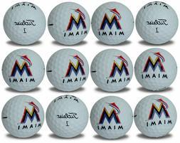 Miami Marlins Titleist ProV1 Refinished MLB Golf Balls 12 pa