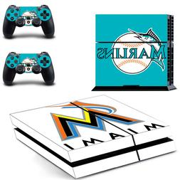 Miami Marlins PS4 Skin Sticker Decal Vinyl Console and 2 Con
