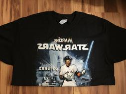 MIAMI MARLINS STAR WARS BLACK T SHIRT  L R2-DEE2 DEE GORDON
