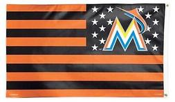 Miami Marlins STRIPES WC02712115 3x5 Flag w/grommets Outdoor