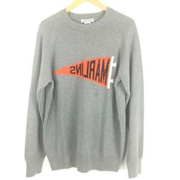 Hillflint Miami Marlins Sweater Size Large Gray Orange Penna