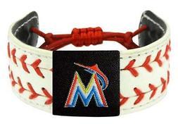 Miami Marlins Two Seamer Seam MLB Baseball Leather Bracelet