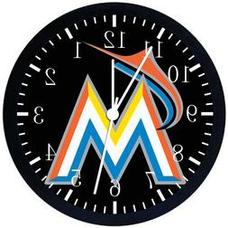 MIAMI MARLINS Black Frame Wall Clock Nice For Decor or Gifts