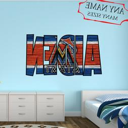 Miami Marlins Wall Decal Art Custom Name Sticker Baseball Ki