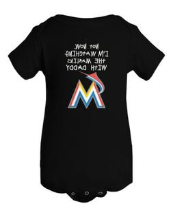 Miami Marlins Watching With Daddy Baby Short Sleeve Bodysuit
