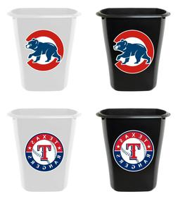 MLB BLACK OR WHITE PLASTIC 3 GALLON TRASH CAN TEAM LOGO BATH