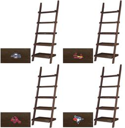 MLB CAPPUCCINO FINISH LEANING LADDER BOOKCASE FEATURING A BA