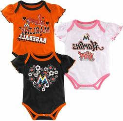 Outerstuff MLB Infant Girls Miami Marlins Outfield 3 Pack Cr
