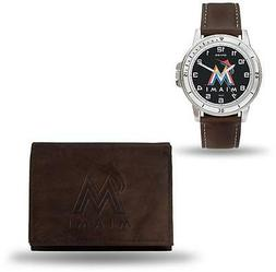 MLB Miami Marlins Brown Faux Leather Watch & Wallet Set