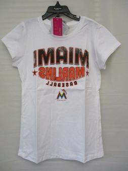 MLB Miami Marlins Girls Short Sleeve White Glittery Graphic
