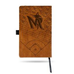 MLB Miami Marlins Laser Engraved Leather Notebook - Brown