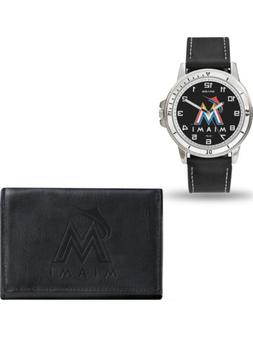MLB Miami Marlins Leather Watch/Wallet Set by Rico Industrie