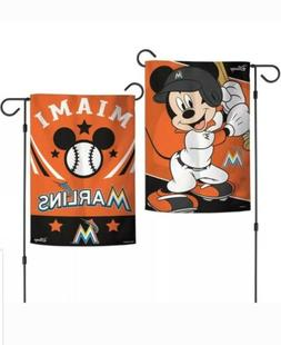 "MLB MIAMI MARLINS MICKEY MOUSE DISNEY 12""X18"" 2-SIDED GARDEN"