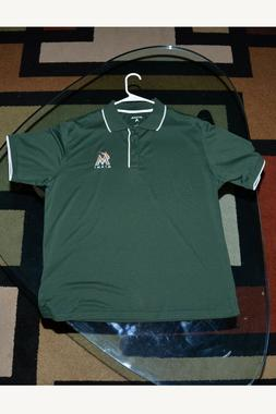 Majestic MLB Miami Marlins Polo Shirt Men's Large W/Logo Gre