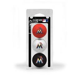 MLB Miami Marlins Regulation Golf Balls 3 Pack Sleeve Puttin