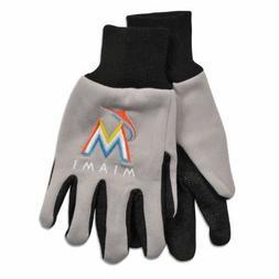 MLB Miami Marlins Two-Tone Gloves, Gray/Black