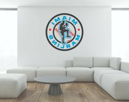 MLB Miami Marlins Wall Decal Play  Baseball Art Vinyl Color