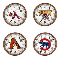 "MLB Team Logo 15"" Round Wall Clock with Glass Face and Cappu"
