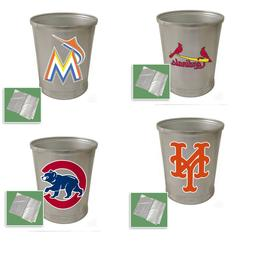 MLB Wastebasket Aluminum Finish Round Bathroom Bedroom Trash