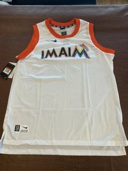 New Mens Nike Miami Marlins Baseball White Tank Top Jersey N