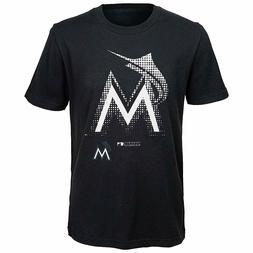 NEW MLB Miami Marlins Boys T-Shirt Black Size Youth 14/16 La